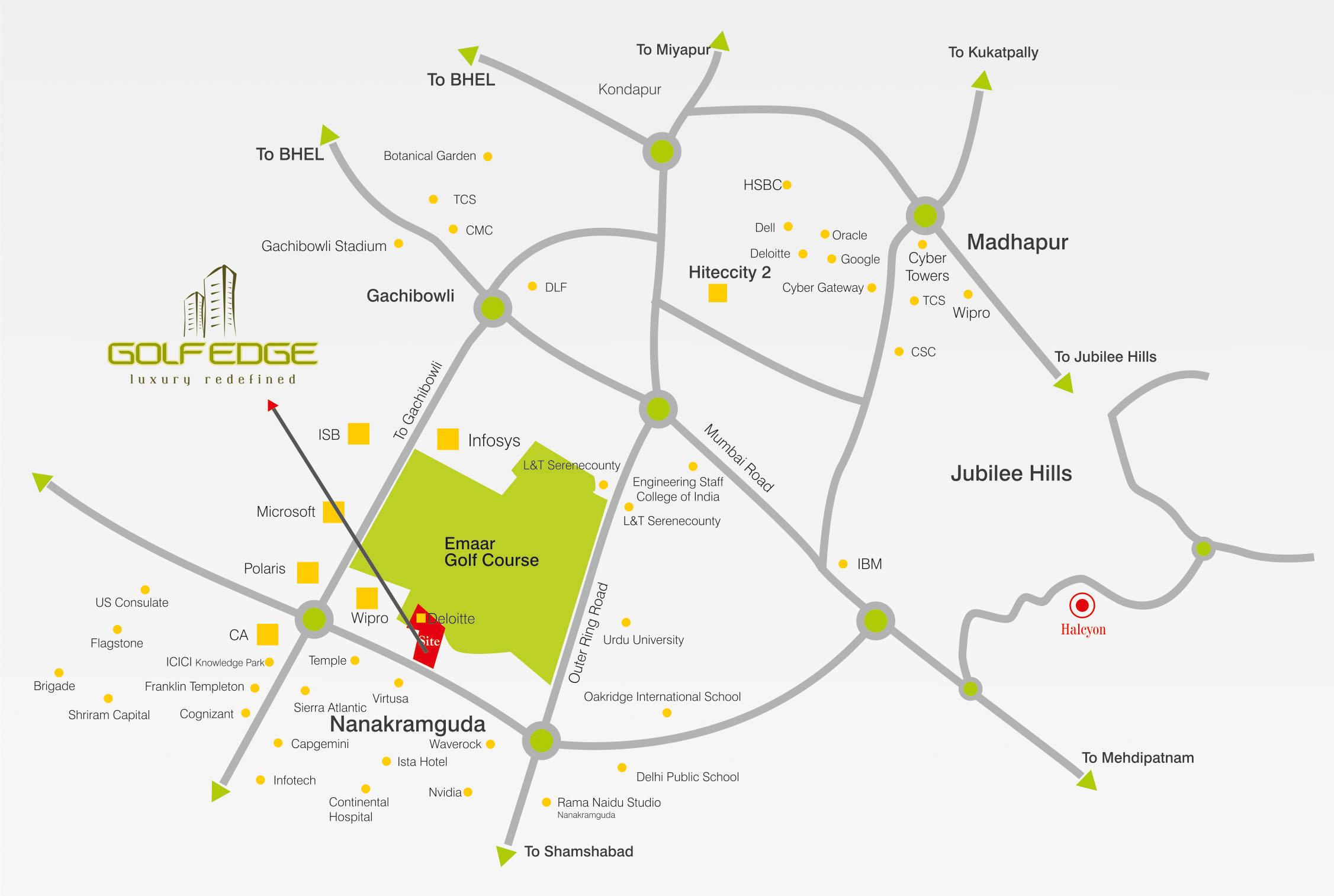 GolfEdge, Gachibowli Hyderabad - Location Map